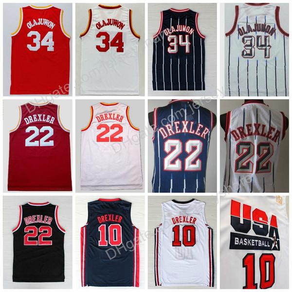 Hohe Qualität # 34 Hakeem Olajuwon Trikots # 10 Clyde Drexler Trikotuniform 1992 USA Dream Team OneShirt 22 Rev 30 Neues Material Rot Weiß Blau