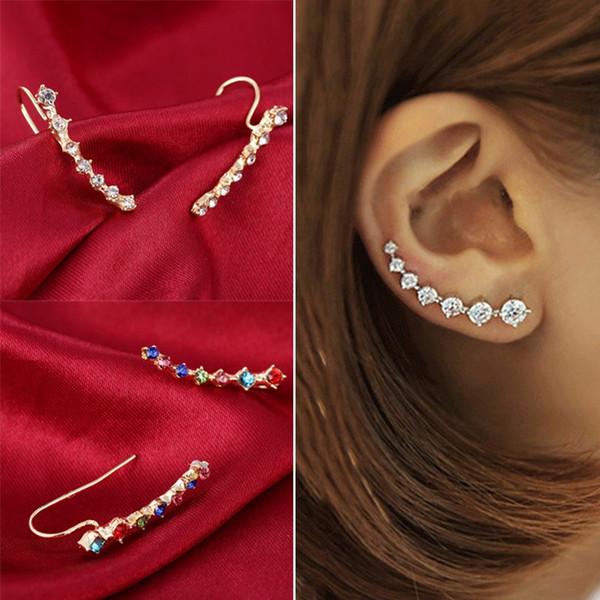 2019 новая мода Кристалл Rhinestone ухо манжеты Wrap Стад клип серьги для женщин ювелирные изделия аксессуары подарки длинные уха клип 8C1247