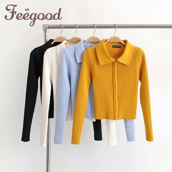 Woman Knitted Cardigan Turn-down Collar Double Zipper Sweater European Style Solid Color Tight Short Crop Tops Streetwear 929