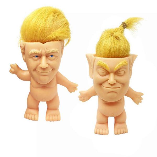 Моделирование Дональд Трамп костюм Тролль куклы игрушки 10 см смешные длинные волосы президент фигурку для стола украшения автомобиля мебель статьи