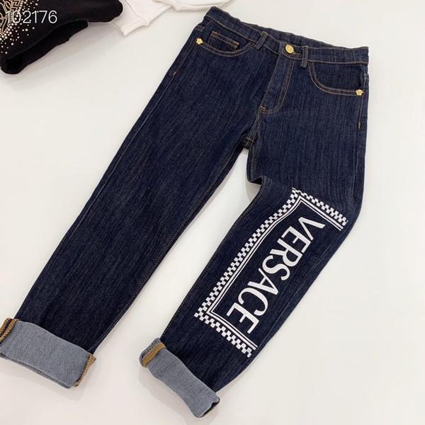 Ragazza dei capretti denim pantaloni morbidi moda autunno lavano blue jeans casuali dei bambini vestiti di vendita al dettaglio