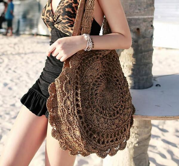 Designer -Bohemian Sacs de paille pour les femmes Big Circle plage Sacs à main d'été vintage Sac en rotin à la main kintted Sacs de voyage