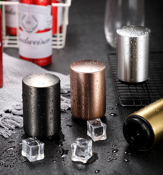 Stainless Steel Magnet-Automatic Beer Bottle Opener Silver Push Down Bottle Open