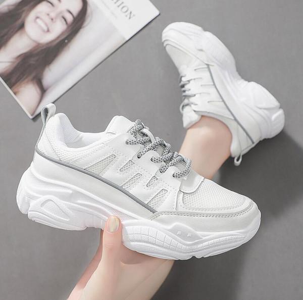 2019 yeni bayanlar sneakers yansıtıcı kalın tabanlı beyaz ayakkabı kadın sonbahar vahşi Harajuku kadın ayakkabı Kore versiyonu