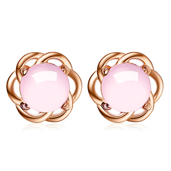 Pink Stones Earrings For Women Bride Party Fashion Jewelry Anniversary Gifts Classic Female Ear Studs K141