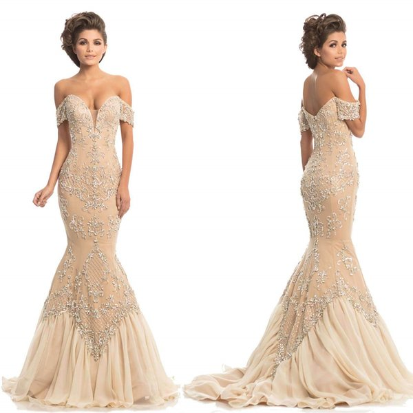 Luxury Mermaid Prom Dresses 2019 Elegant Off the Shoulder Plunging Crystal Beading Formal Evening Gown Women Cocktail Dress Celebrity Gown