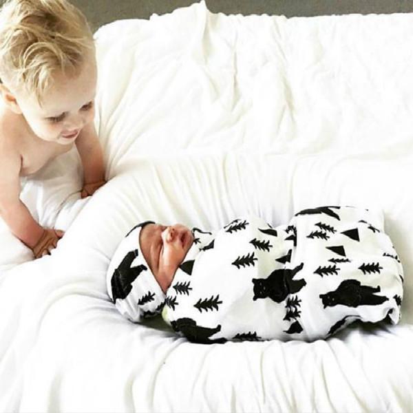 Baby Swaddling Coperte Sacchi a pelo floreali per bambini Cappelli Set Stampa Cotone Swaddle Avvolge Sleepsacks Asciugamani Coprisedili Passeggino