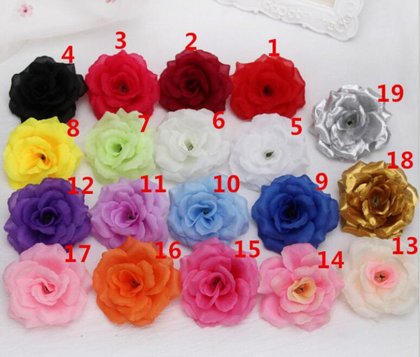 best selling New Artificial Rose Flower Heads cloth Decorative Flowers Party Decoration Wedding Wall Flower Bouquet White Artificial Roses Bouquet 8CM