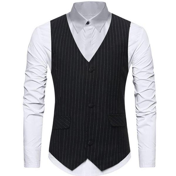 2019 Pinstripe Mens Designer Jackets Slim Fit Groom Formal Wedding Waistcoat Custom Made Men Vests Suits