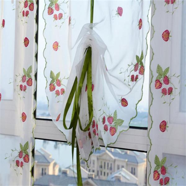 80*100cm Embroidere Flower Window Curtain Tulle Transparent Pink Floral Windows Guaze Sheet Decoration Door Hanging Blinds #B30