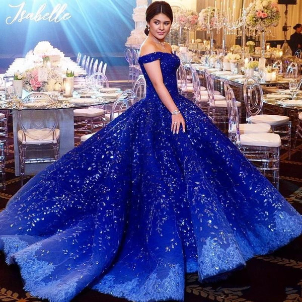 Luxury Dubai Rhinestone quinceanera Dresses Bead Crystal Applique Off Shoulder Evening Gown Ocean Blue Lace Ball Gown Engagement Dress