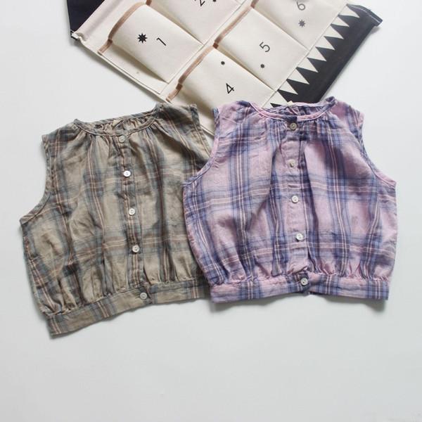Ins Korea Girl Kids Clothing shirt Round Collar Sleeveless Plaid Print Shirt Summer Girl Soft cotton shirt