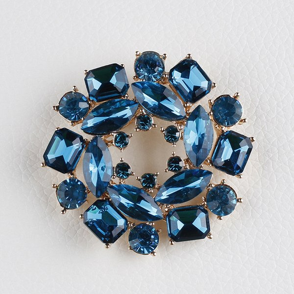 High Quality Blue Glass Crystal Bauhinia Flower Brooch Pins for Sweater jewelry accessories for women elegant ladies wedding 10pcs/lot