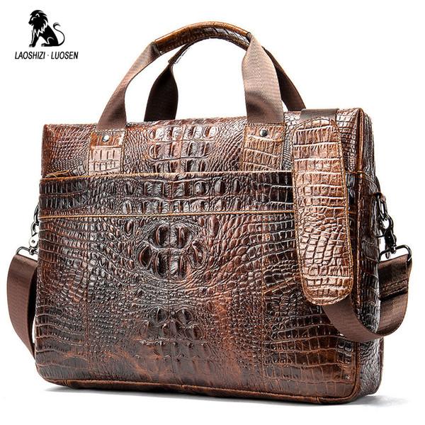 2019 luxus herren Aktentasche Krokodil Echtem Leder Business Handtasche für 14 'Laptop Lässig Umhängetasche Vintage Messenger Bags