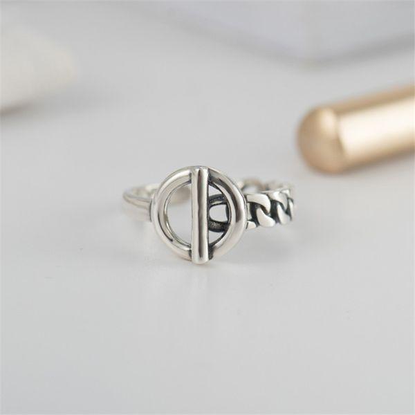 Vintage Men Fine Jewelry Autentico 925 Sterling Silver Lock Wedding Ring Bague Femme anelli geometrici per le donne YMR406