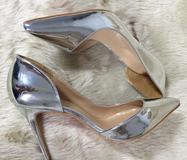 Moda de calidad superior de charol de plata de tacón alto para mujer diseñador noble clásico vestido zapatos 10 cm de tacón alto marrón tacón alto de la mujer
