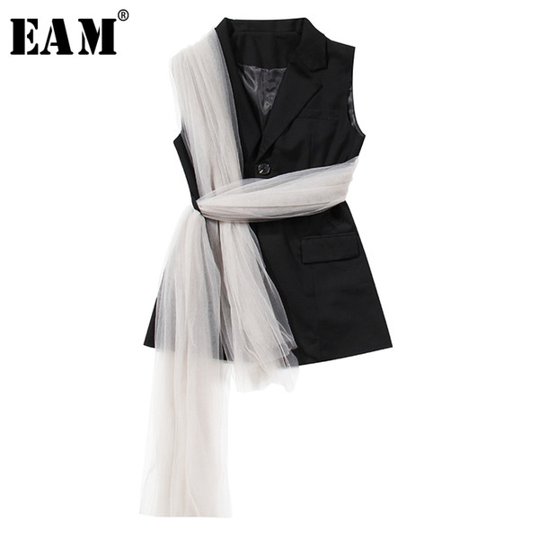 EAM] Women Loose Fit Black Mesh Bandage Split Joint Irregular Vest New Lapel Sleeveless Fashion Tide Spring Autumn 2020 1X341, Black;white