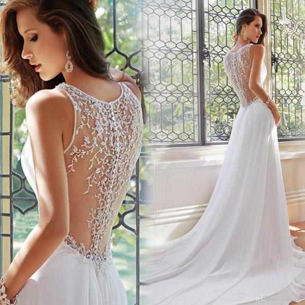 2019 moda de gama alta Corte gasa partida cuello V vestido de boda del tren Vestido de Noiva encargo profesional