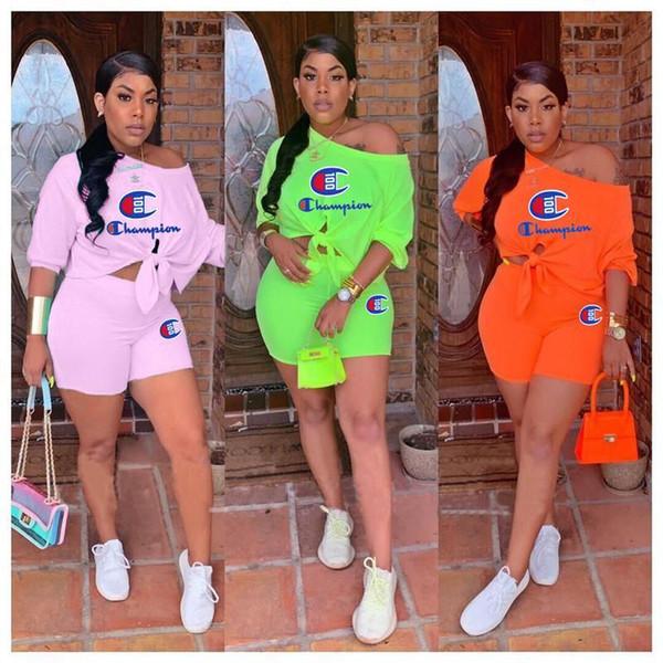 Off Shoulder Mujer Campeón Chándal Diseñador de la marca T-shirt Shorts 2 piezas Set vendaje Tees Tops Shorts trajes verano