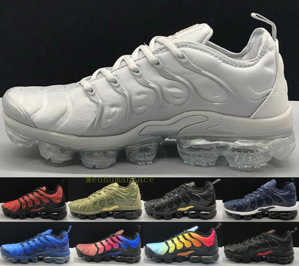 Con la caja del tamaño grande de 13 TN, más los hombres de los zapatos corrientes Triple Negro Blanco Puesta del sol azul de la foto de las mujeres calza los zapatos de diseño en las zapatillas de deporte Formadores