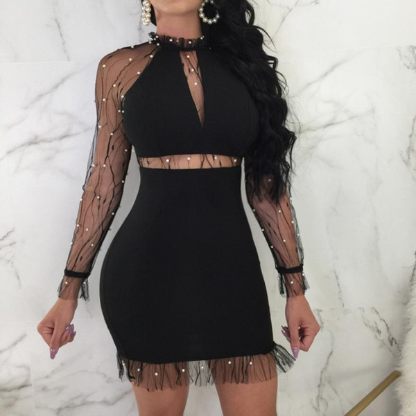 Sexy Women Dress Nail Beads Long Sleeve Evening sexy back transparent Party Mini Dresses Vestido