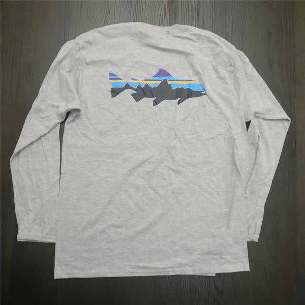 Patagonia Shark Imprimé Mens Casual Designer T-shirts à manches longues été Homme Femme Crew Neck Bottoming Tops T-shirt de couleur unie