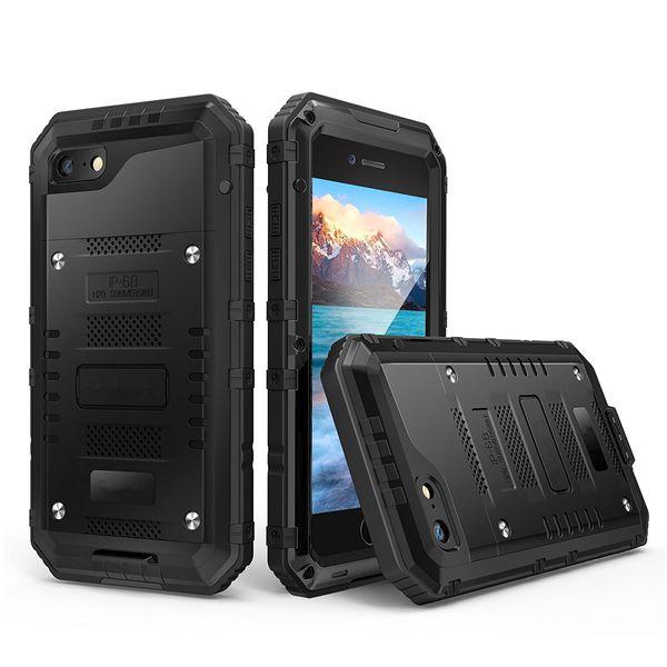 Hybrid Defender IP68 a prueba de agua, a prueba de suciedad, a prueba de nieve, caja de teléfono de metal para iPhone X XS MAX XR 8 7 6 Plus Robot de protección móvil cubierta de piel