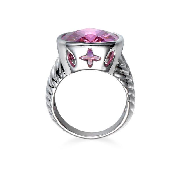 Squisito anello quadrato in cristallo rosa Anello in argento sterling 925 con diamanti e gioielli con diamanti, fedi nuziali, dimensioni 6-10