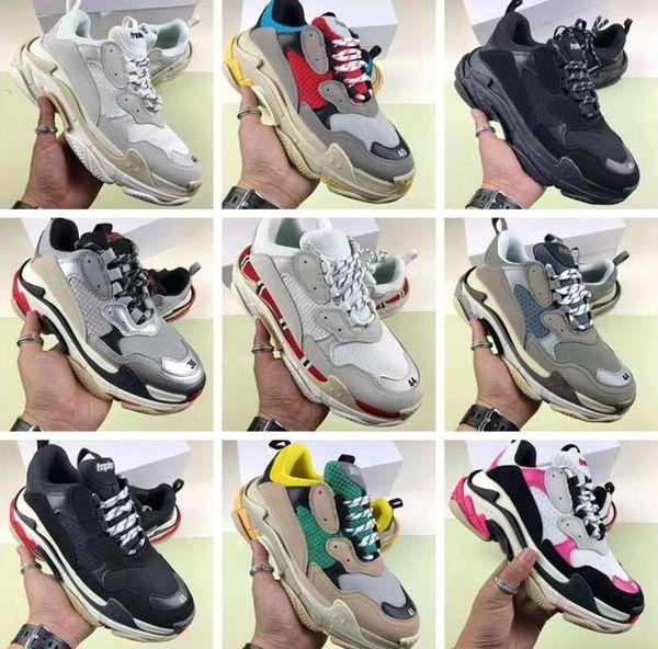 hot best CqualFashion designer Paris 17FW Triple s Sneakers for men women black red white green Casual Dad Shoes tennis increasing shoe35-45