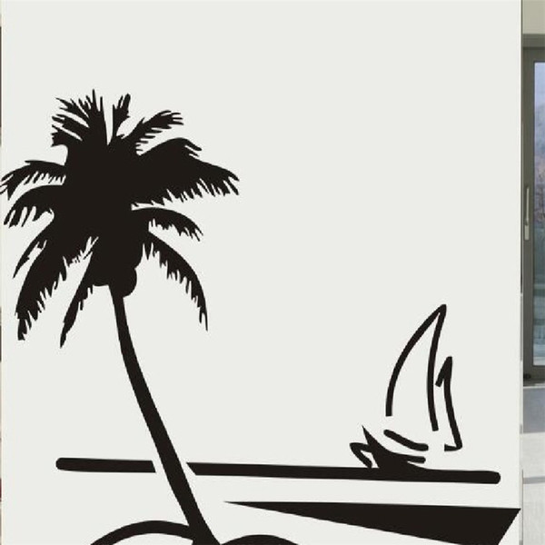 Beach Themed Wall Decals Diy Vinyl Removable Sailboat Coconut Palm Wall Sticker Tree Decor For Living Room Bedroom And Kids Room Home Decor Wall