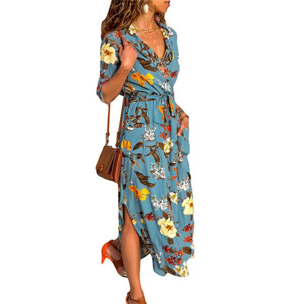 Imprimer Robe de plage Femmes 2019 été Boho longue en mousseline de soie Maxi robes sexy col en V fourrure vintage de partie de vacances Robe Robe Femme