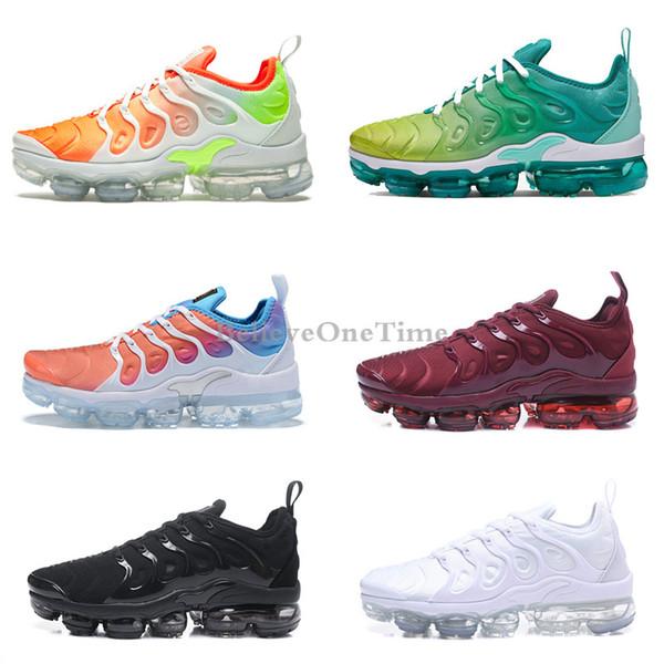 top popular 2019 Plus Tn Rainbow Mens Women Running Shoes Triple Black White Reverse Sunset Bumblebee Be True Grape Designer Sherbet Team Red Chaussures 2019