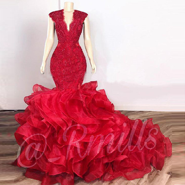top popular Dark Red Cascading Ruffles Prom Dresses Mermaid 2020 Lace Beaded Organza V-neck Evening Gowns Cocktail Party Dresses robes de soirée 2020