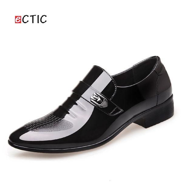 ECTIC Nuevos Hombres de la Llegada de Lujo Hebilla Correas Marca Pisos Formales Zapatos de Vestir Monje Único Brogues Zapatos de Boda Zapatos Hombre