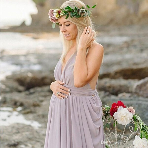 2019 Sexy Halter Neckline Pregnant Evening Dress Draped Chiffon A-line Open Back Purple Color Floor Length Long Evening Dress For Pregnancy