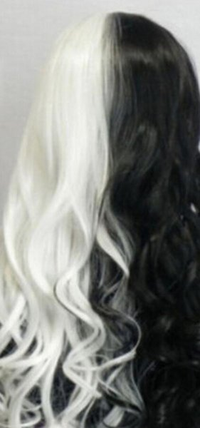 WIG LL<<< 001474 new harajuku style long curly wavy hair black white mix anime wig cosplay party