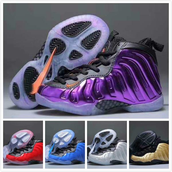 0255edce73cc8 2019 nuevos niños famosos Foam posite Pro zapatillas de baloncesto púrpura  rojo niño niña deportes zapatillas