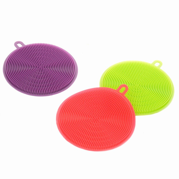 2019 HOT 7 colors Magic Silicone Dish Bowl Cleaning Brushes Scouring Pad Pot Pan Wash Brushes Cleaner Kitchen