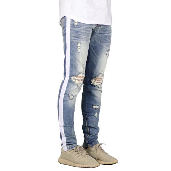 KANYE WEST Jeans Knee Hole Side Zipper Slim Distressed Jeans Men Justin Bieber Pants Ripped Tore Up For Men Stripe Pants
