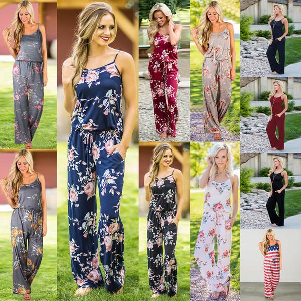 Plus Size Women Floral Print Sling Jumpsuit Sleeveless Romper Beach Bodysuit Summer Boho Wide Leg Pants Loose Trousers Comfy Overalls C42301