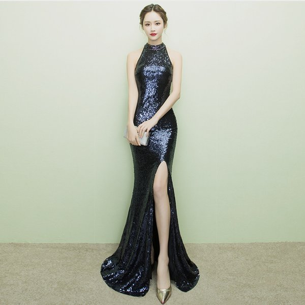 Hot Sexy Cheongsam Long Evening Dress Traditional Chinese Oriental Party Dresses Black Sequined Winter Qipao Vestido De Noche