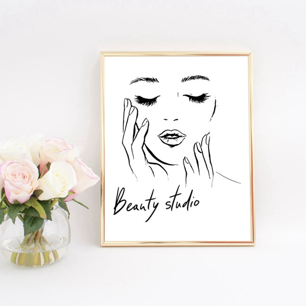 2019 Woman Face Poster Beautiful Eyelashes Make Up Prints Beauty Studio  Wall Art Decor Canvas Painting Picture Makeup Wall Decoration From Aurorl,