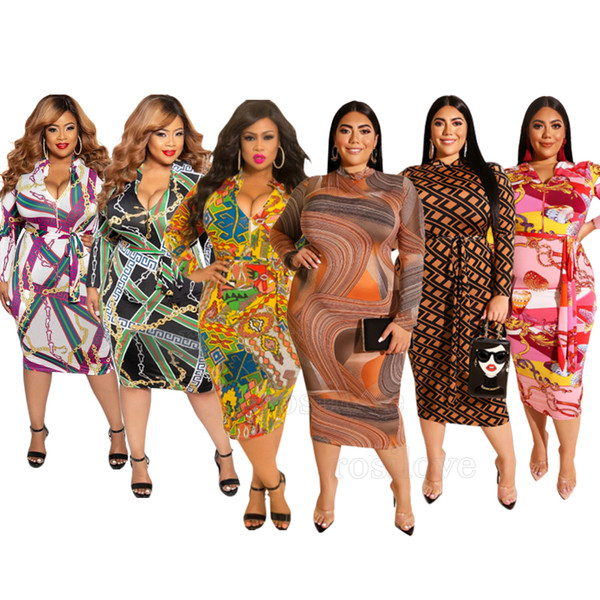 best selling 2019 Women Plus-size dress printed long sleeve dress tight skirt Packet hip Puller design sexy fashion Both before and after wear XL-5XL