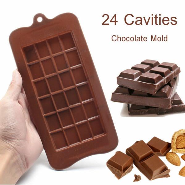 Herramienta de la torta de chocolate de 24 cavidades de silicona del molde para hornear herramienta de la cocina del fabricante del caramelo de azúcar del molde barra de hielo Bloque bandeja