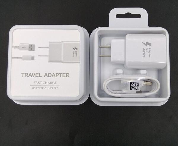 Samsung S8 Note8 için 2 1 Seyahat Adaptörü Hızlı Şarj Duvar Şarj 1.2 M Tipi C USB Veri Kablosu ile