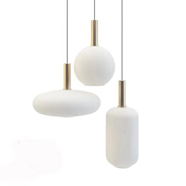 Новая классическая Nordic Простой Гостиная Ресторан Подвеска зажигает Milk белого стекла тень Droplight водить E27 лампы Подвеска Спальня