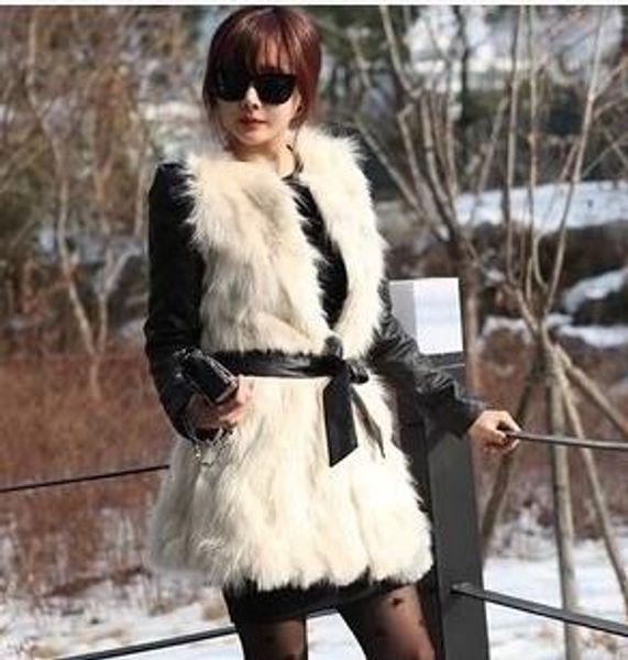 2019 Hot Sweet Girl 2019 Leder-Pelz-Patchwork-Winter-Frauen Weste Fluffy-Bogen-Gurt-Pelz-outercoat Blazer-Mantel-YR20 Fall