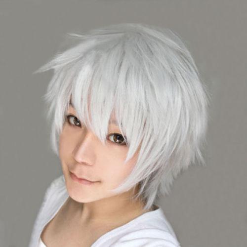 ePacket free shipping >Tokyo Ghoul Ken Kaneki Short Silver White Cosplay Hair Wig