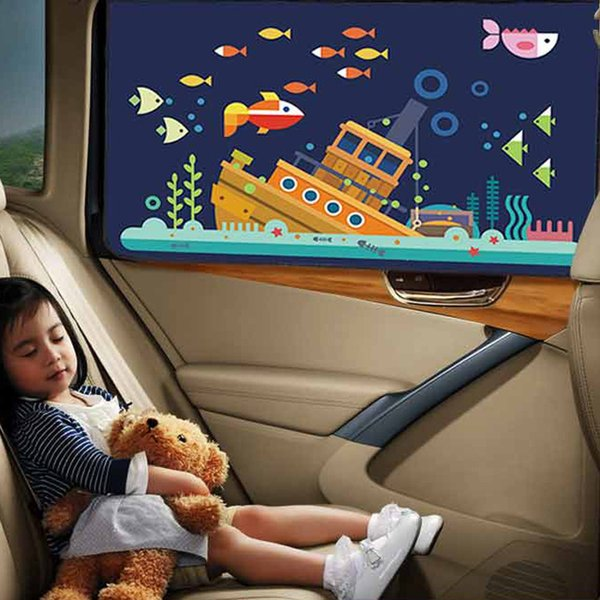 Général magnétique Car Auto Fenêtre Pare-soleil Cartoon Isolation voiture Sunscreen Pare-soleil côté fenêtre Parasol Rideaux Styling