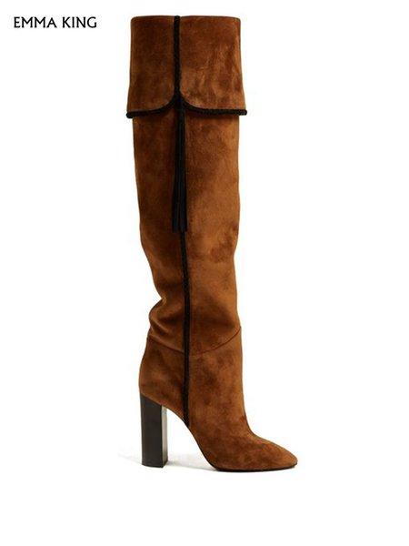 Botas hasta la rodilla de gamuza marrón corte trenzado negro pliegues sobre el puño y la borla adorno 10 cm de tacón Sexy Botas Mujer Tallas grandes Botines